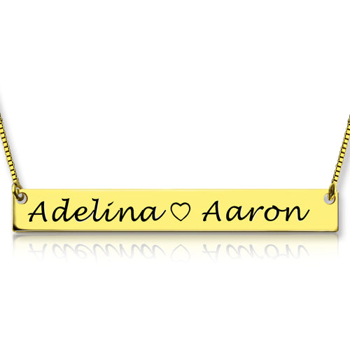 Bar Double Name Engraved Necklace