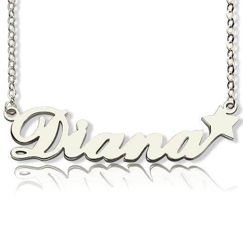 Diana Star Name Necklace Silver