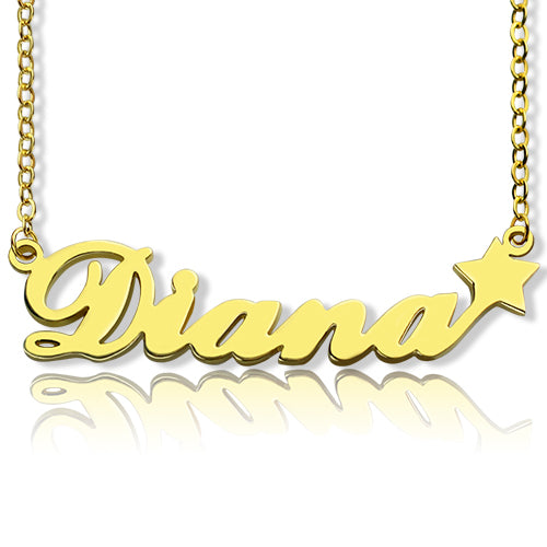 Diana Star Name Necklace 14K Gold Plated