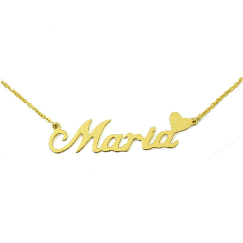 Personalized Name Necklace with Small Heart