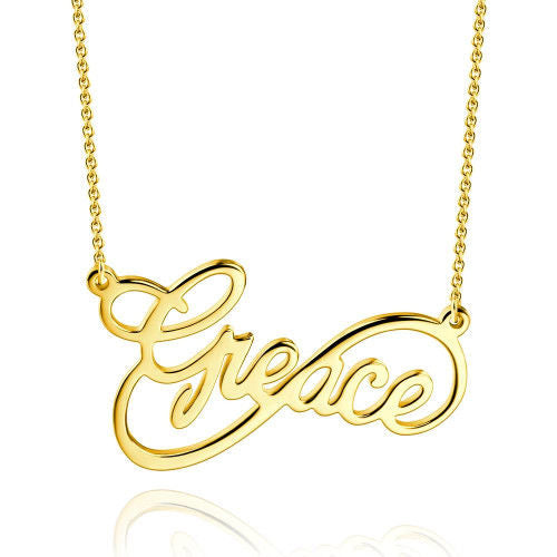 Unique Infinity Big Name Necklace Gold Plated