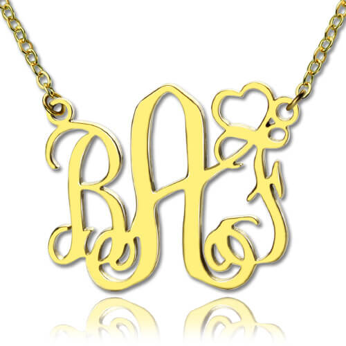 Personalized Monogram Necklace With Heart