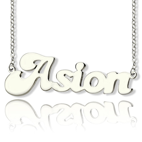 Banana Split Name Necklace Silver