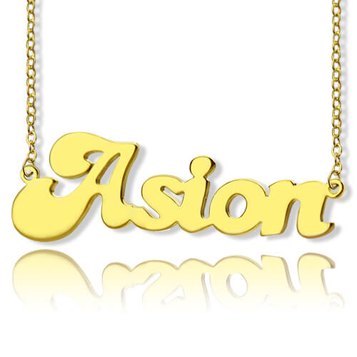 Banana Split Name Necklace 14K Gold Plated