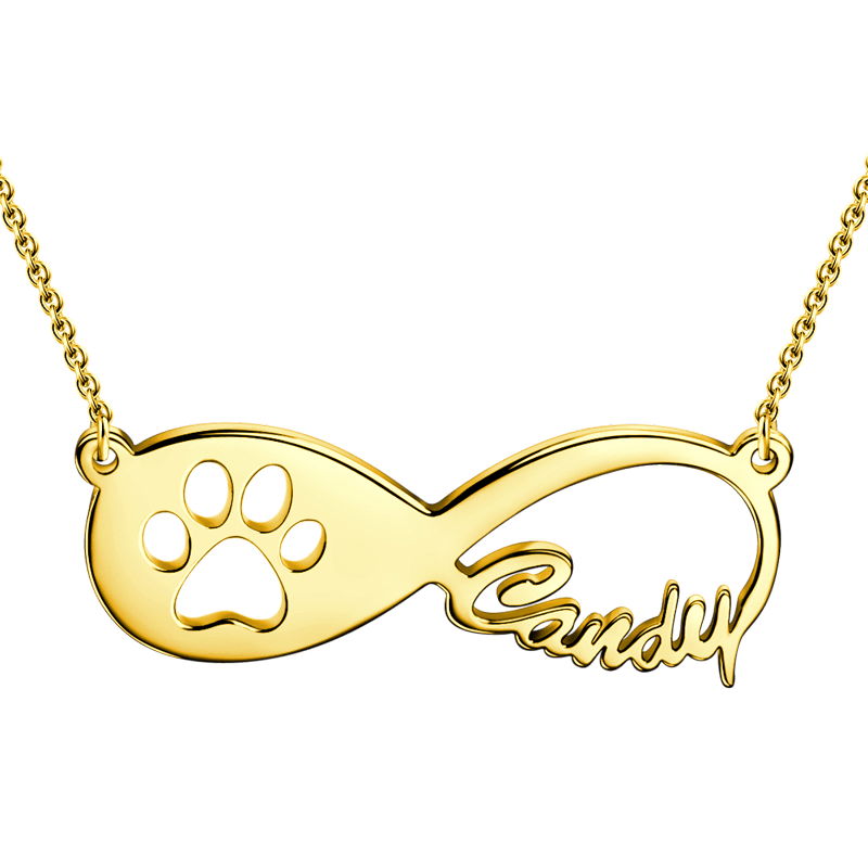 To infinity and beyond Paw name necklace
