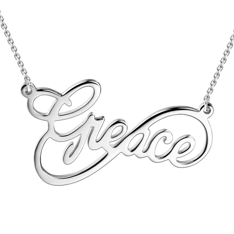 Unique Infinity Big Name Necklace Silver
