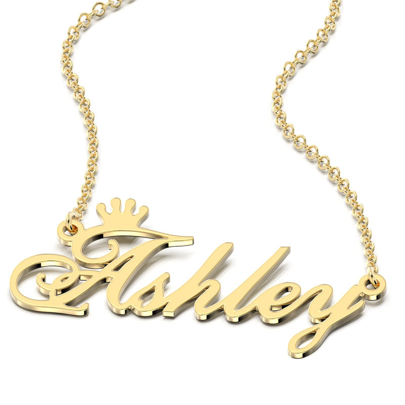 Crown Name Necklace 14K Gold Plated