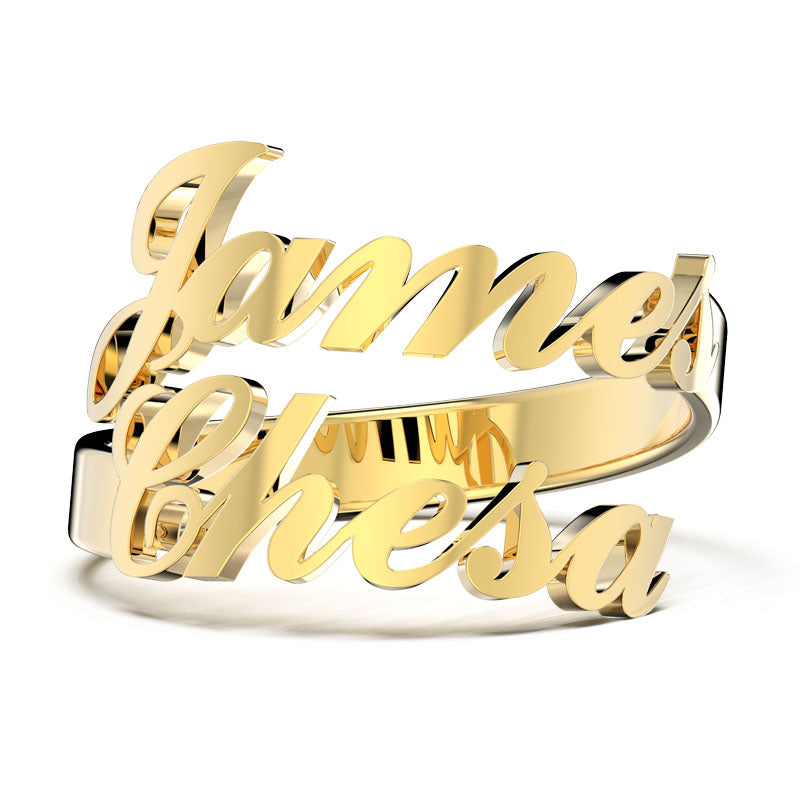 Personalized Two Name Ring - Adjustable