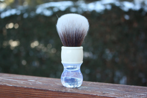 22MM SynBad w/ Winter Handle - Extra Dense Shaving Brush - Cream/Brown - Imitation Badger