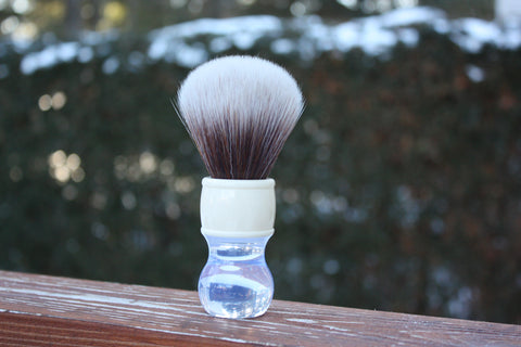 24MM SynBad w/ Winter Handle - Extra Dense Shaving Brush - Cream/Brown - Imitation Badger