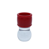 Red & Clear Shaving Brush Handle (fits 24mm, 26mm knots)