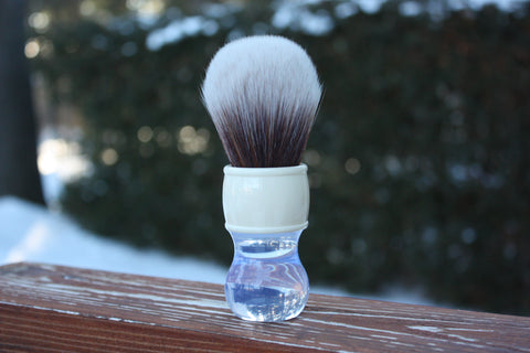 28MM SynBad w/ Winter Handle - Extra Dense Shaving Brush - Cream/Brown - Imitation Badger