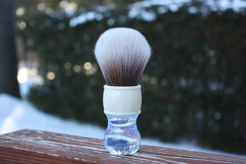 30MM SynBad w/ Winter Handle - Extra Dense Shaving Brush - Cream/Brown - Imitation Badger