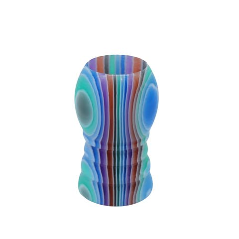 Blue Hue Stripe Handcrafted Shaving Brush Handle (fits 20mm, 22mm knots)