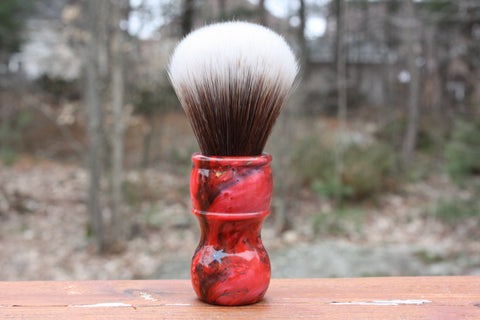 24MM SynBad w/ Ruby Ripple Handle - Extra Dense Shaving Brush - Cream/Brown - Imitation Badger