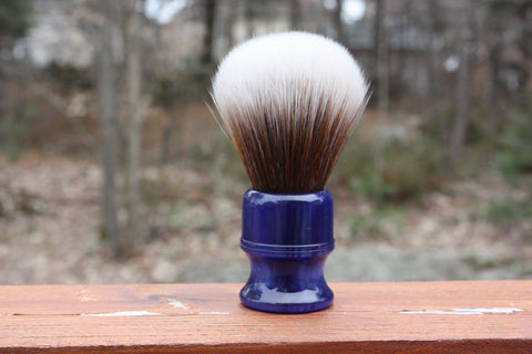24MM SynBad w/ Blue Lagoon Handle - Extra Dense Shaving Brush - Cream/Brown - Imitation Badger