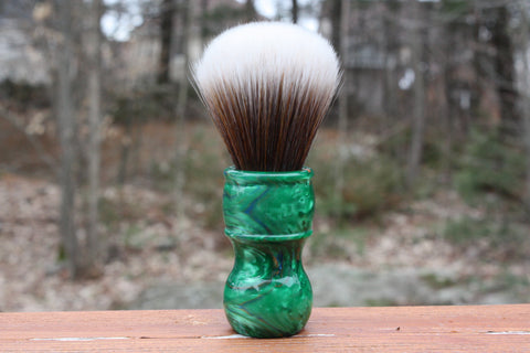 24MM SynBad w/ Elegant Emerald Handle - Extra Dense Shaving Brush - Cream/Brown - Imitation Badger