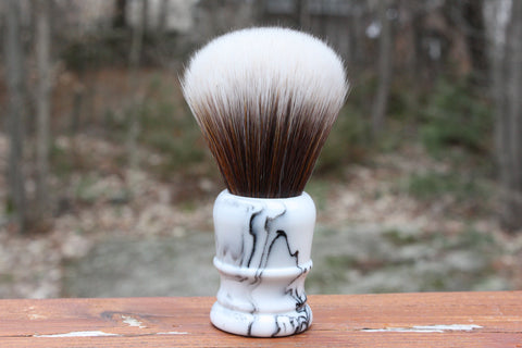 24MM SynBad w/ Faux Marble v2 Handle - Extra Dense Shaving Brush - Cream/Brown - Imitation Badger