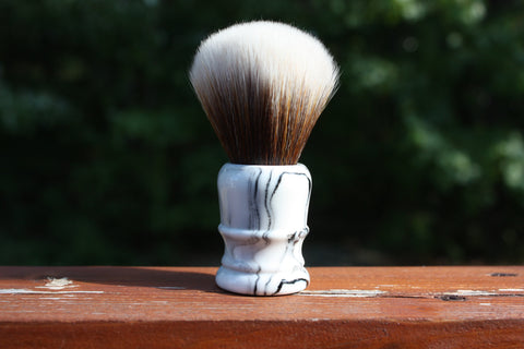 22MM SynBad w/ Faux Marble v2 Handle - Extra Dense Shaving Brush - Cream/Brown - Imitation Badger