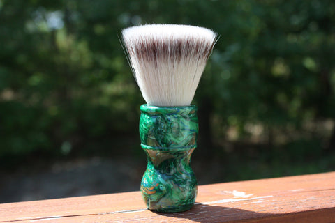 24mm FlatTop w/ Elegant Emerald Handle Handle - Extra Dense Shaving Brush - APShaveCo.