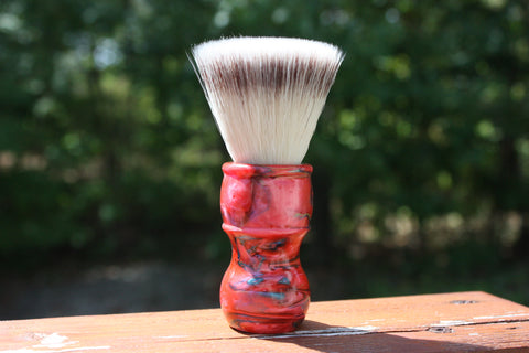 24mm FlatTop - w/ Ruby Ripple Handle Handle - Extra Dense Shaving Brush - APShaveCo.
