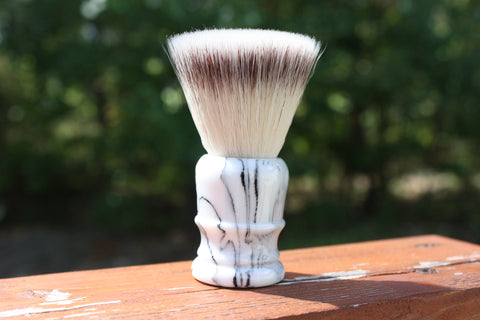 24MM FlatTop w/ Faux Marble v2 Handle - Extra Dense Shaving Brush - Imitation Silvertip - APShaveCo.