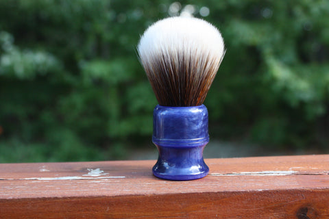 22MM SynBad w/ Blue Lagoon Handle - Extra Dense Shaving Brush - Cream/Brown - Imitation Badger