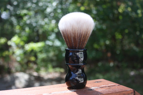 24MM SynBad w/ Jet Black Handle - Extra Dense Shaving Brush - Cream/Brown - Imitation Badger