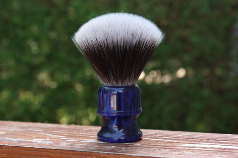 24MM 2BED Synthetic FAN w/ Blue Lagoon Handle - Extra Dense Shaving Brush - Cream/Brown - Imitation Badger