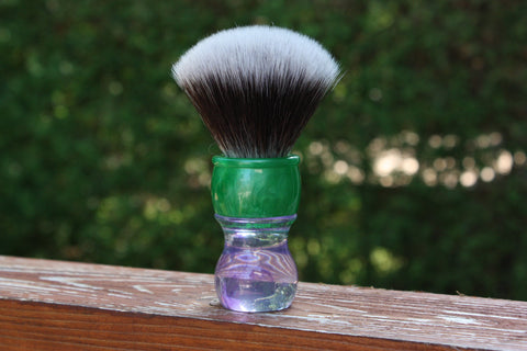 24MM 2BED Synthetic FAN w/ Summer Handle - Extra Dense Shaving Brush - Cream/Brown - Imitation Badger