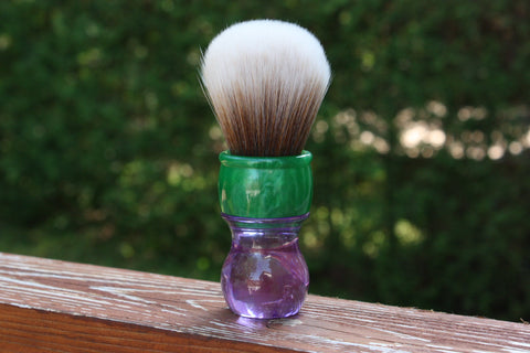 28MM SynBad w/ Summer Handle - Extra Dense Shaving Brush - Cream/Brown - Imitation Badger