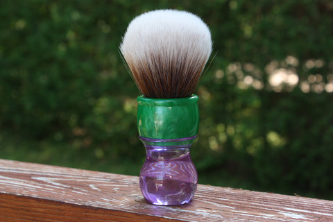 30MM SynBad w/ Summer Handle - Extra Dense Shaving Brush - Cream/Brown - Imitation Badger