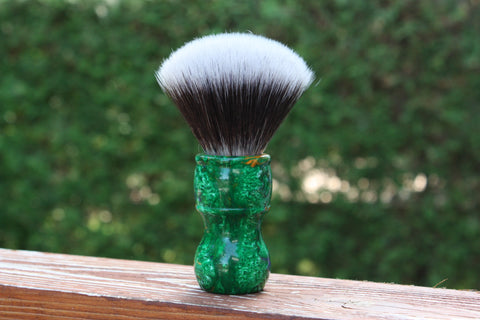 24MM 2BED Synthetic FAN w/ Elegant Emerald Handle - Extra Dense Shaving Brush - Cream/Brown - Imitation Badger