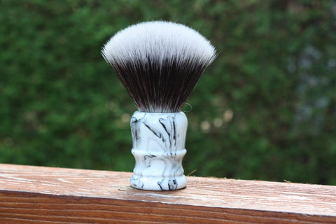 24MM 2BED Synthetic FAN w/ Faux Marble v2 Handle - Extra Dense Shaving Brush - Cream/Brown - Imitation Badger