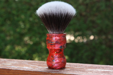 24MM 2BED Synthetic FAN w/ Ruby Ripple Handle - Extra Dense Shaving Brush - Cream/Brown - Imitation Badger