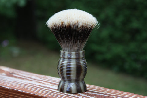 22mm Gelousy SHD Fan w/Faux Horn Beehive Handle - Specially Treated 2 Band Finest Badger Knot