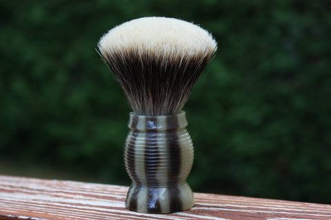 24mm Gelousy SHD Fan w/Faux Horn Beehive Handle - Specially Treated 2 Band Finest Badger Knot