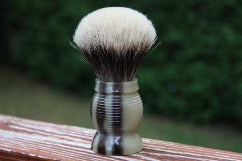 24mm Gelousy SHD Bulb w/Faux Horn Beehive Handle - Specially Treated 2 Band Finest Badger Knot