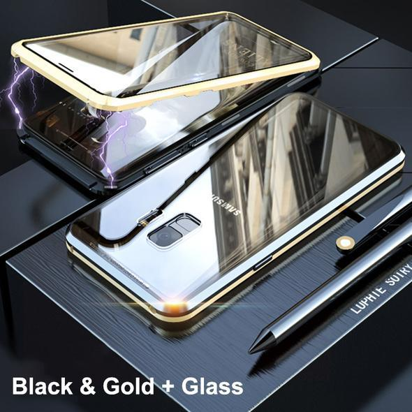Magnetic Adsorption Transparent Tempered Glass Two side Glass Cover Phone Case For Samsung S8Plus