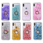 For iPhone 7/8 7/8 Plus Sequins Glittering Sand Soft Edge Transparent Ring Bracket Phone Case