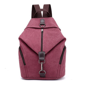 Women New Fashion Retro Canvas Zipper Backpack