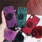 Iphone XS Max Gold Foil Glue Cracking Hair Ball Balloon Bracket Mobile Phone Case