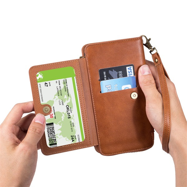 Vintage Leather Zipper Wallet Mobile Phone Case Two-in-one Protective Cover