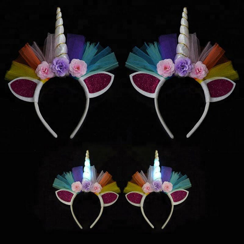 hildren and Adult LED Unicorn Headband Decorative Floral Headpiece