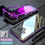 Magnetic adsorption transparent tempered glass phone case For Coque samsung galaxy Note 9 - Blue&Black - Samsung Note9