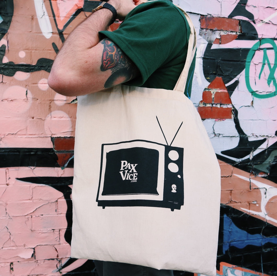 White TV Print Tote Bag