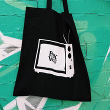 Load image into Gallery viewer, Black TV Print Tote Bag