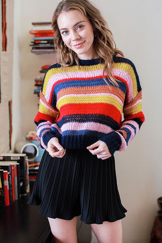 Navy/ Multi Color Cropped Sweater