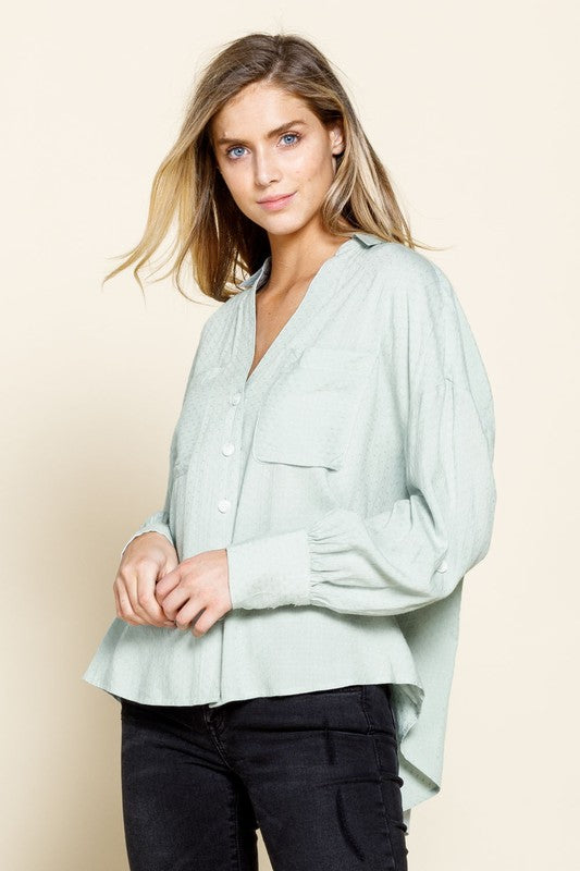 Textured Challis Front Pocket Woven Top (K12984)