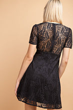 Load image into Gallery viewer, Black Short Sleeve Lace Dress